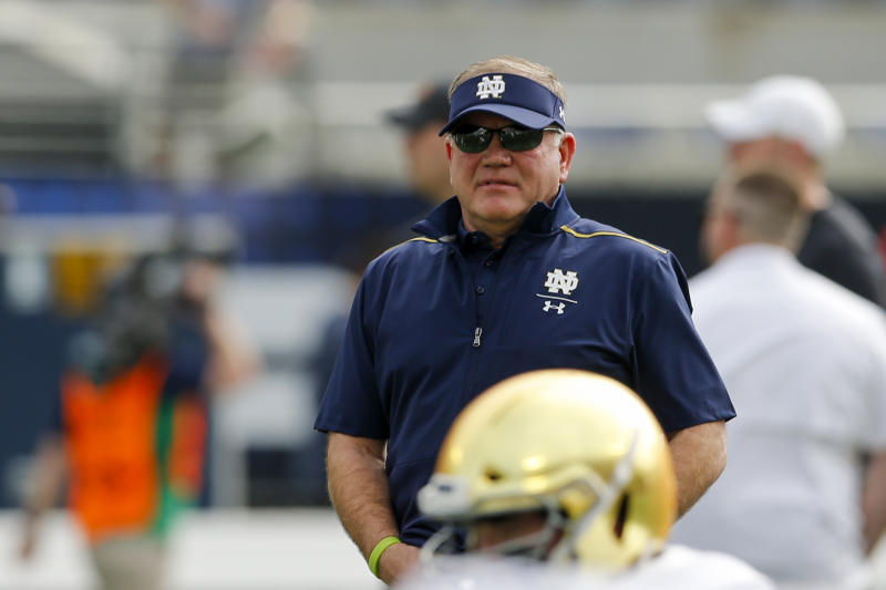 Notre Dame Fighting Irish head coach Brian Kelly looks on during warmups before the Camping World Bowl against Iowa State on Dec. 28, 2019. (Joe Petro/Icon Sportswire via Getty Images)