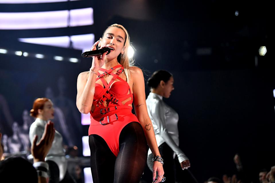 LOS ANGELES, CALIFORNIA - NOVEMBER 24: Dua Lipa performs onstage during the 2019 American Music Awards at Microsoft Theater on November 24, 2019 in Los Angeles, California. (Photo by Emma McIntyre/AMA2019/Getty Images for dcp)