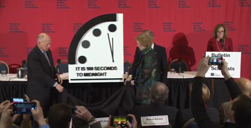The world is now 20 seconds closer to midnight, according to the Doomsday Clock (YOUTUBE)