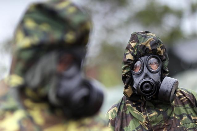 Members of the Brazilian Navy Marines wear gas masks during a military training exercise called Operation Formosa 2013 at the field of instruction of Formosa, about 100 km (62 miles) north of Brasilia October 29, 2013. REUTERS/Ueslei Marcelino (BRAZIL - Tags: POLITICS MILITARY)