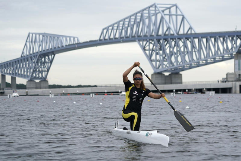 TOKYO, JAPAN - SEPTEMBER 13: Teruko Kiriake of Japan goes to the start position at the Women's Canoe Single 200m final B during a canoe sprint test eventfor the Tokyo 2020 Olympic and Paralympic Games at Sea Forest Waterway, on September 13, 2019 in Tokyo, Japan. (Photo by Toru Hanai/Getty Images)