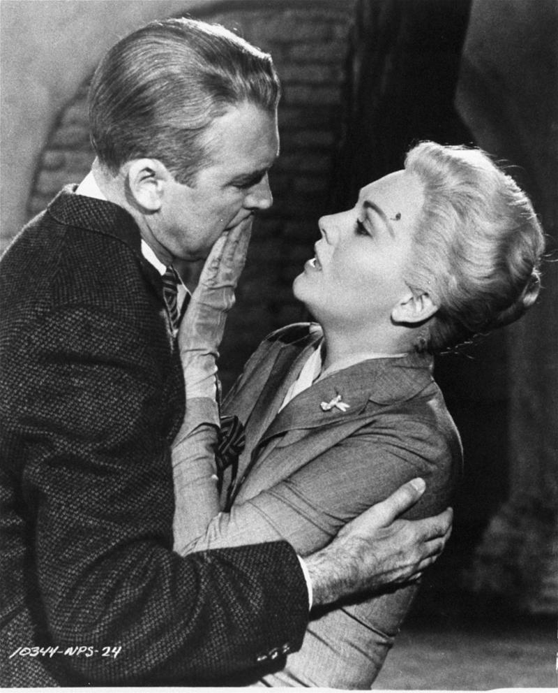 "FILE - This undated film image released by Paramount shows Jimmy Stewart, left, and Kim Novak in a scene from Alfred Hitchcock's 1958, ""Vertigo.""  Hitchcock's ""Vertigo"" took the top spot in the top 10 greatest movies ever list conducted by Sight & Sound, ending the 50-year-long run for Welles' ""Citizen Kane."" The magazine, published by the British Film Institute, surveys international film critics every decade.  (AP Photo/Paramount Pictures, file)"