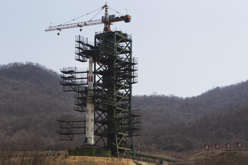 FILE - In this April 8, 2012 file photo, North Korea's Unha-3 rocket stands at Sohae Satellite Station in Tongchang-ri, North Korea. North Korea said Saturday, Dec. 1, 2012 it will launch a long-range rocket between Dec. 10 and Dec. 22. The launch will heighten already strained tensions with South Korean ahead of its presidential election on Dec. 19. (AP Photo/David Guttenfelder, File)