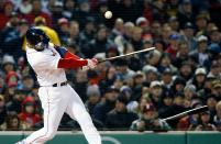 Boston Red Sox's Eduardo Nunez breaks his bat during the first inning of a baseball game against the New York Yankees in Boston, Tuesday, April 10, 2018. Nunez popped out on the at-bat. (AP Photo/Michael Dwyer)