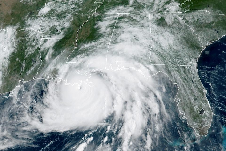 A satellite image shows Hurricane Ida in the Gulf of Mexico and approaching the coast of Louisiana, U.S., August 29, 2021.  NOAA/Handout via REUTERS  THIS IMAGE HAS BEEN SUPPLIED BY A THIRD PARTY.