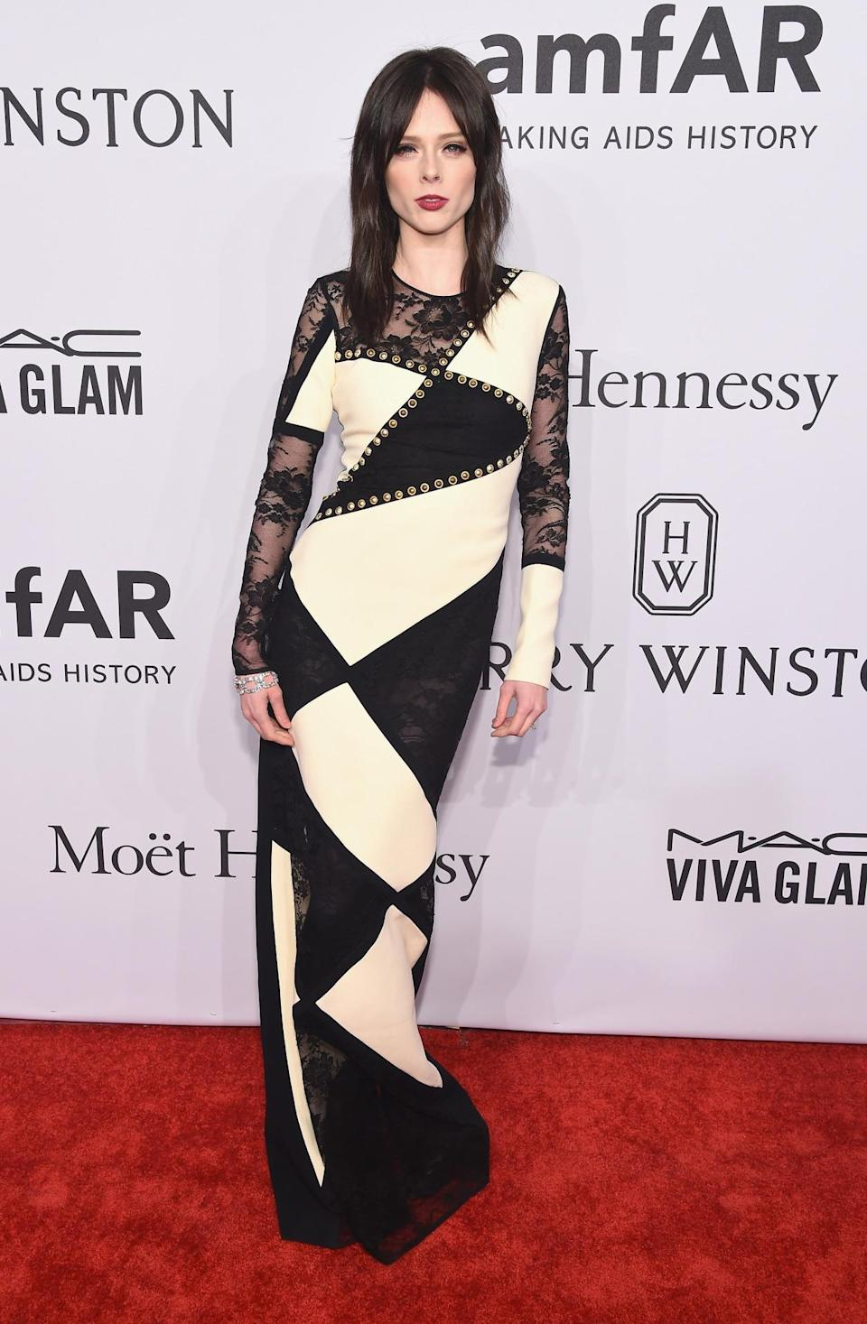 <p>The model made a splash in a loud monochrome print dress by Fausto Puglisi. <i>[Photo: Getty]</i><br></p>