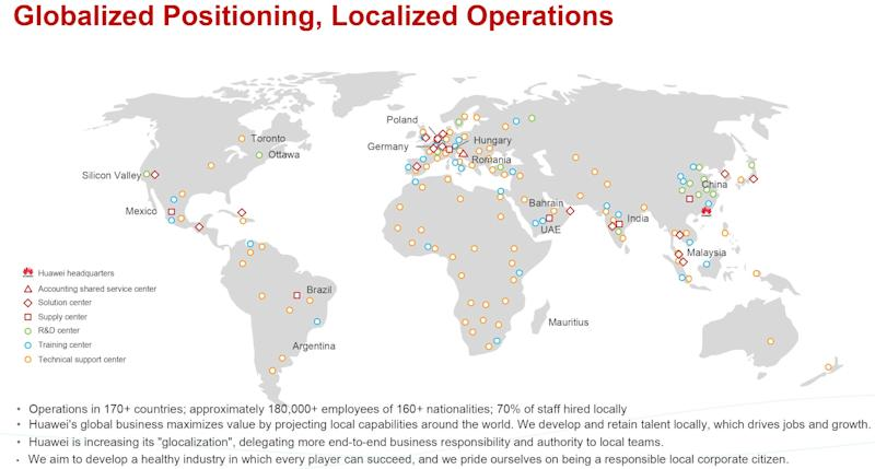 A slide from a Huawei presentation shows where various operations are located. (Graphic: Huawei)