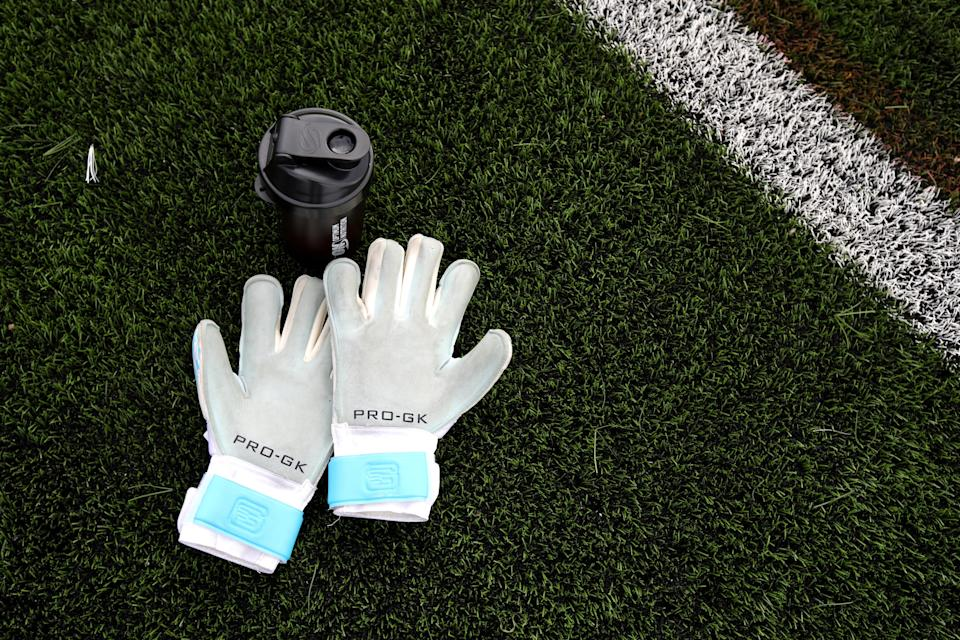 A general view of goalkeepers gloves