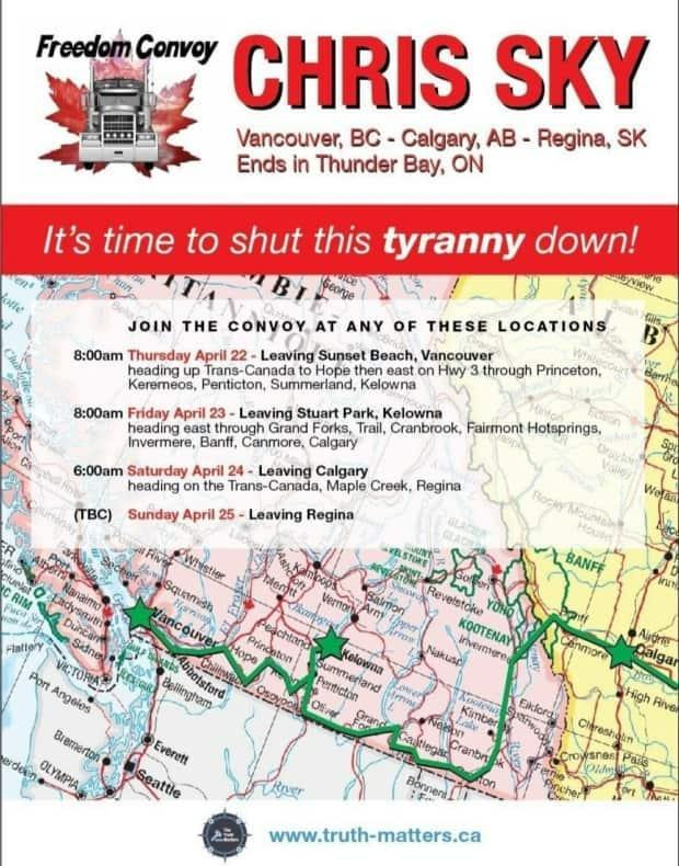 Chris Saccoccia's 'freedom convoy' poster touts upcoming stop in Maple Creek and Regina.