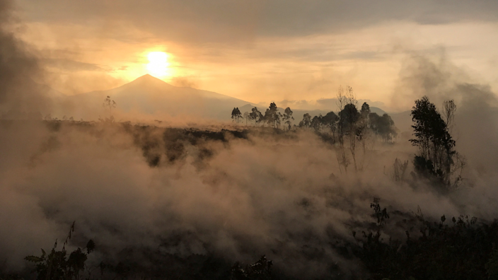 Smouldering lava deposited by the eruption of Mount Nyiragongo volcano is seen near Goma - Sunday 23 May 2021