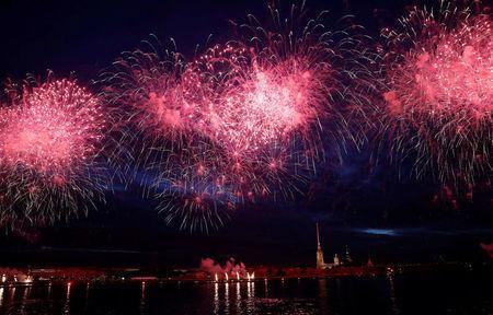 Fireworks explode over the Peter and Paul Fortress during the Scarlet Sails festivities marking school graduation, in St. Petersburg, Russia,June 24, 2018. REUTERS/Henry Romero