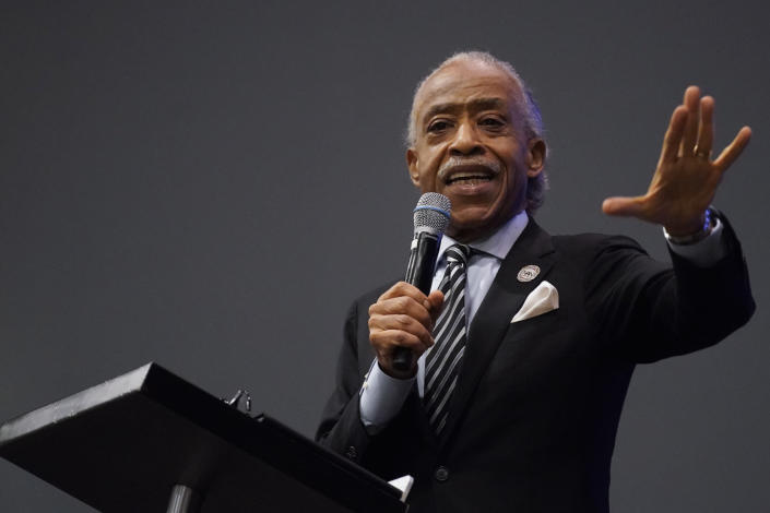 FILE - In this May 3, 2021 file photo, Rev. Al Sharpton speaks during the funeral for Andrew Brown Jr.at Fountain of Life Church in Elizabeth City, N.C. Brown was fatally shot by Pasquotank County Sheriff deputies trying to serve a search warrant. Many police departments — including in large U.S. cities such as New York and Chicago — ban or strictly limit shooting into moving vehicles after concluding that the practice is ineffective and not worth the risk to human life. But it is still happening and defended as a justifiable use of force in other areas, including the small municipality of Elizabeth City. (AP Photo/Gerry Broome, File)