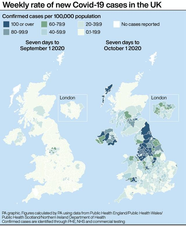 Weekly rate of new Covid-19 cases in the UK