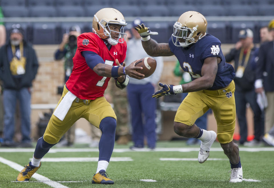 Get prepared to see a lot of Brandon Wimbush (L) and Dexter Williams in 2018. (Robert Franklin/South Bend Tribune via AP)