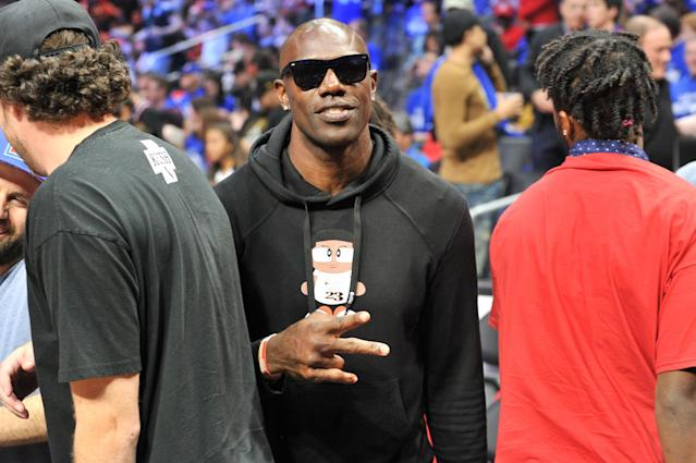 Terrell Owens attends an NBA playoffs basketball game between the Los Angeles Clippers and the Golden State Warriors at Staples Center on April 18, 2019 in Los Angeles, California. (Photo by Allen Berezovsky/Getty Images)