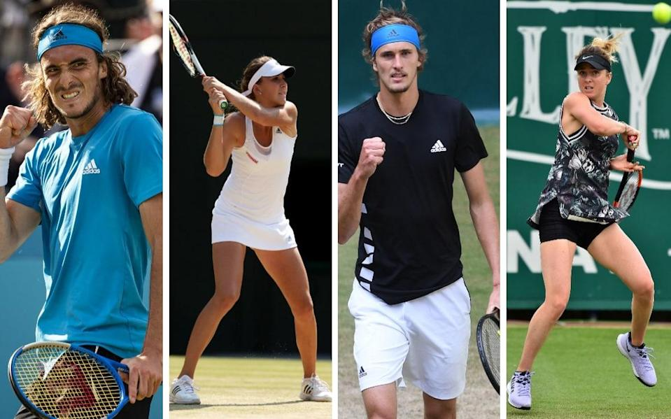 Stefanos Tsitsipas (left) and Elina Svitolina (right) are among a clutch of players aiming for Grand Slam glory for the first time at SW19