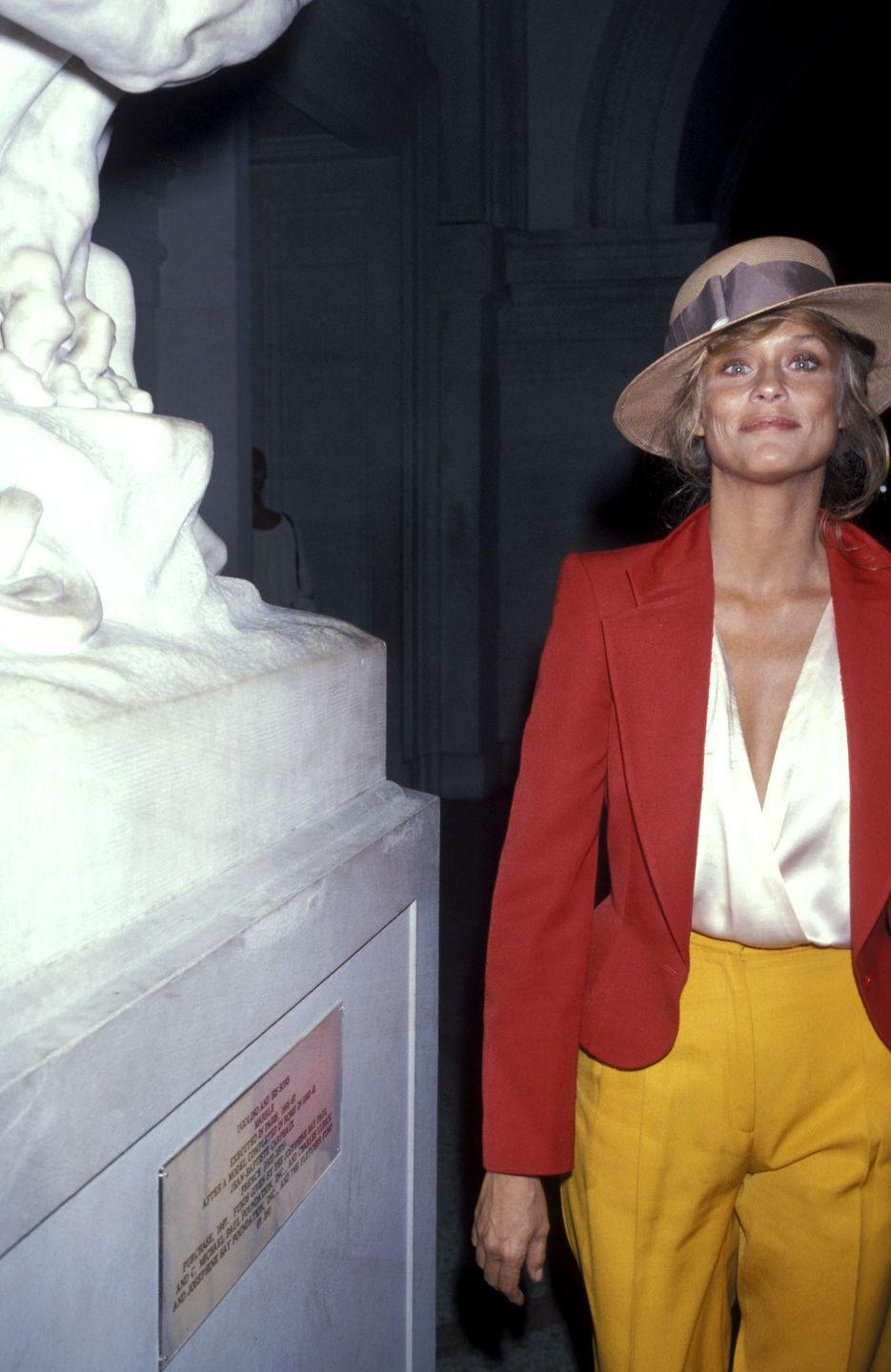 <p>Hutton posed next to a sculpture at the Metropolitan Museum of Art. The actress was captured attending the opening of a Richard Avedon exhibit in 1978.</p>