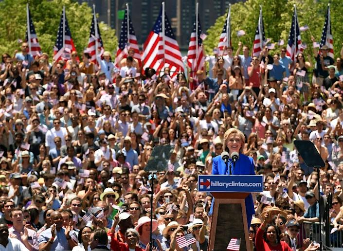 Hillary Clinton launches her campaign for the Democratic presidential nomination on Roosevelt Island in New York (AFP Photo/Timothy A. Clary)