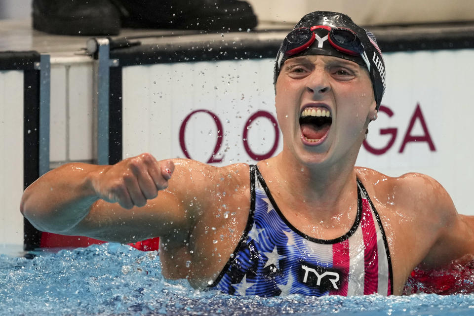 Katie Ledecky, of the United States, reacts after winning the women's 1500-meters freestyle final at the 2020 Summer Olympics, Wednesday, July 28, 2021, in Tokyo, Japan. (AP Photo/Matthias Schrader)