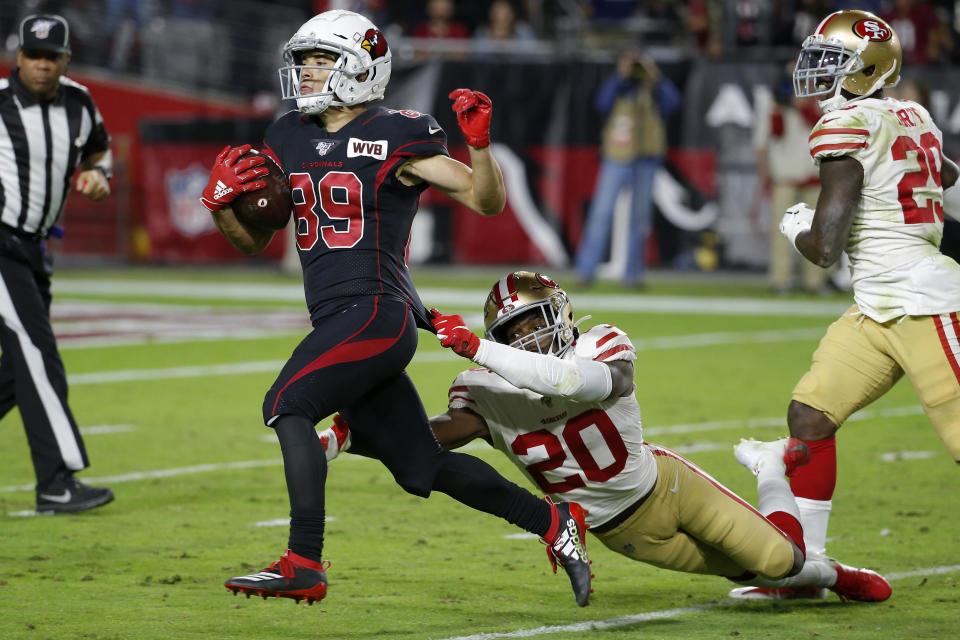 Arizona Cardinals wide receiver Andy Isabella (89) runs for touchdown after the catch as San Francisco 49ers cornerback Jimmie Ward (20) pursues during the second half of an NFL football game, Thursday, Oct. 31, 2019, in Glendale, Ariz. (AP Photo/Rick Scuteri)