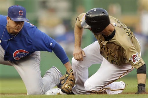 Pittsburgh Pirates' Neil Walker, right, steals second ahead of the tag by Chicago Cubs second baseman Darwin Barney during the second inning of a baseball game in Pittsburgh, Saturday, May 26, 2012. (AP Photo/Gene J. Puskar)