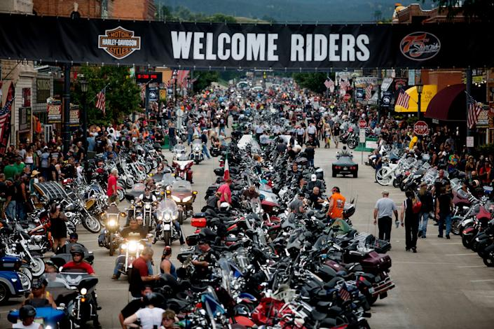 Bikes and rallygoers fill Main Street during the annual Sturgis Motorcycle Rally in August, 2015. (Photo: Kristina Barker / Reuters)