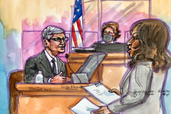 This artist rendering shows Apple CEO Tim Cook on the witness stand during a trial in San Ramon, Calif., on Friday, May 21, 2021. Cook described the company's ironclad control over its mobile app store as a way to keep things simple for customers while protecting them against security threats and privacy intrusions during Friday testimony denying allegations he has been running an illegal monopoly. The rare courtroom appearance by one of the world's best-known executives came during the closing phase of a three-week trial revolving an antitrust case brought by Epic Games, maker of the popular video game Fortnite. (Vicki Behringer via AP)