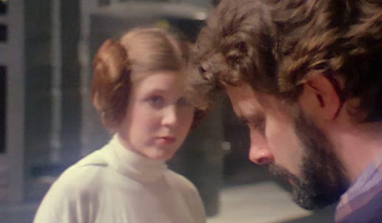 Carrie and George on the set of Star Wars - Credit: Lucasfilm