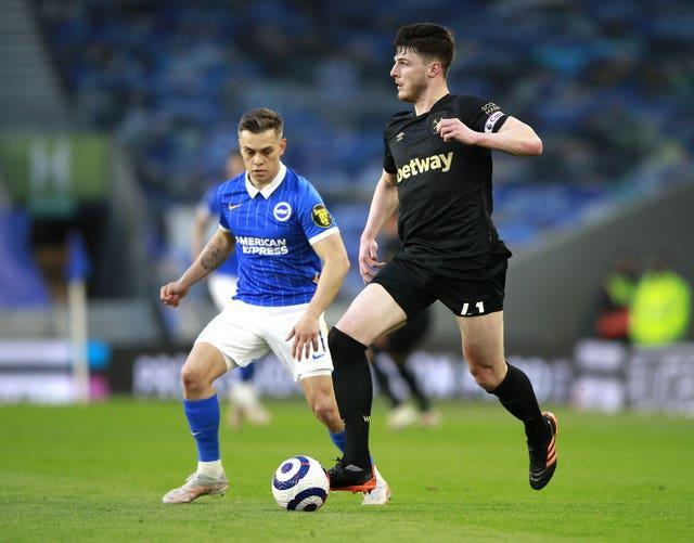 Declan Rice returned to the West Ham midfield following a six-week absence