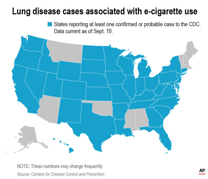 States reporting at least one confirmed or probable case to the CDC. Data current as of Sept. 17.