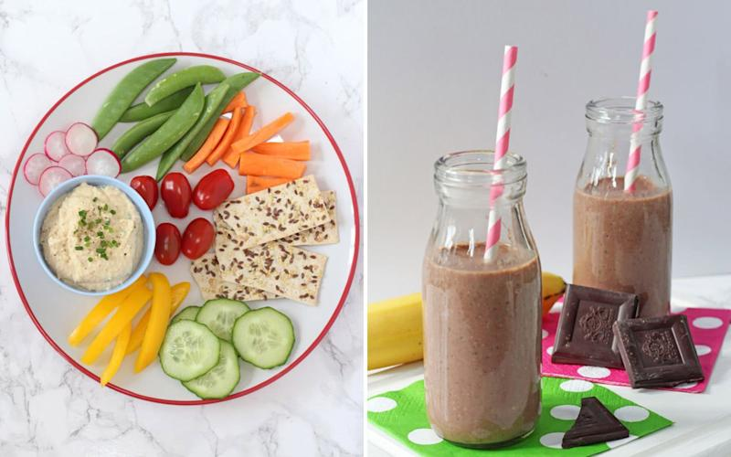 Blogger Ciara Attwell of My Fussy Eater recommends a cheese and chive chickpea dip and chocolate chia shakes