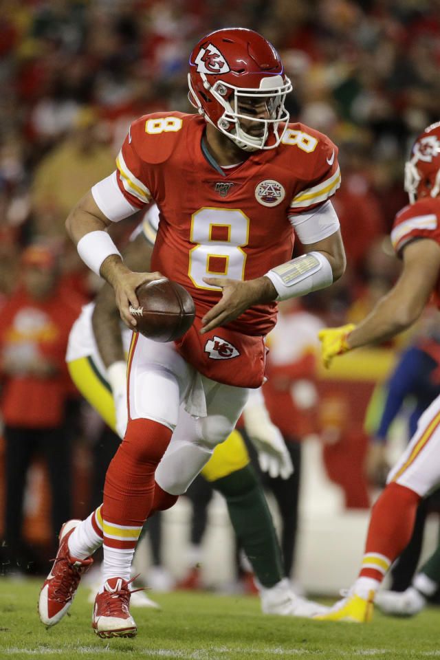 Kansas City Chiefs quarterback Matt Moore (8) prepares to hand off the ball during the first half of an NFL football game against the Green Bay Packers in Kansas City, Mo., Sunday, Oct. 27, 2019. (AP Photo/Charlie Riedel)