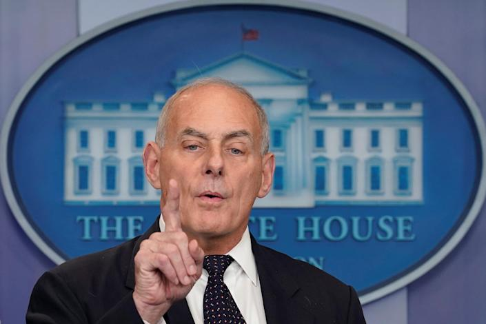 White House Chief of Staff John Kelly addresses a briefing at the White House today. (Photo: Reuters/Yuri Gripas)