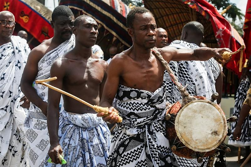 """Sunday's spectacular """"durbar"""" with traditional chiefs in Kumasi, Ghana's second city, celebrate cultural links within the Commonwealth that Charles will one day lead (AFP Photo/Ruth McDowall)"""