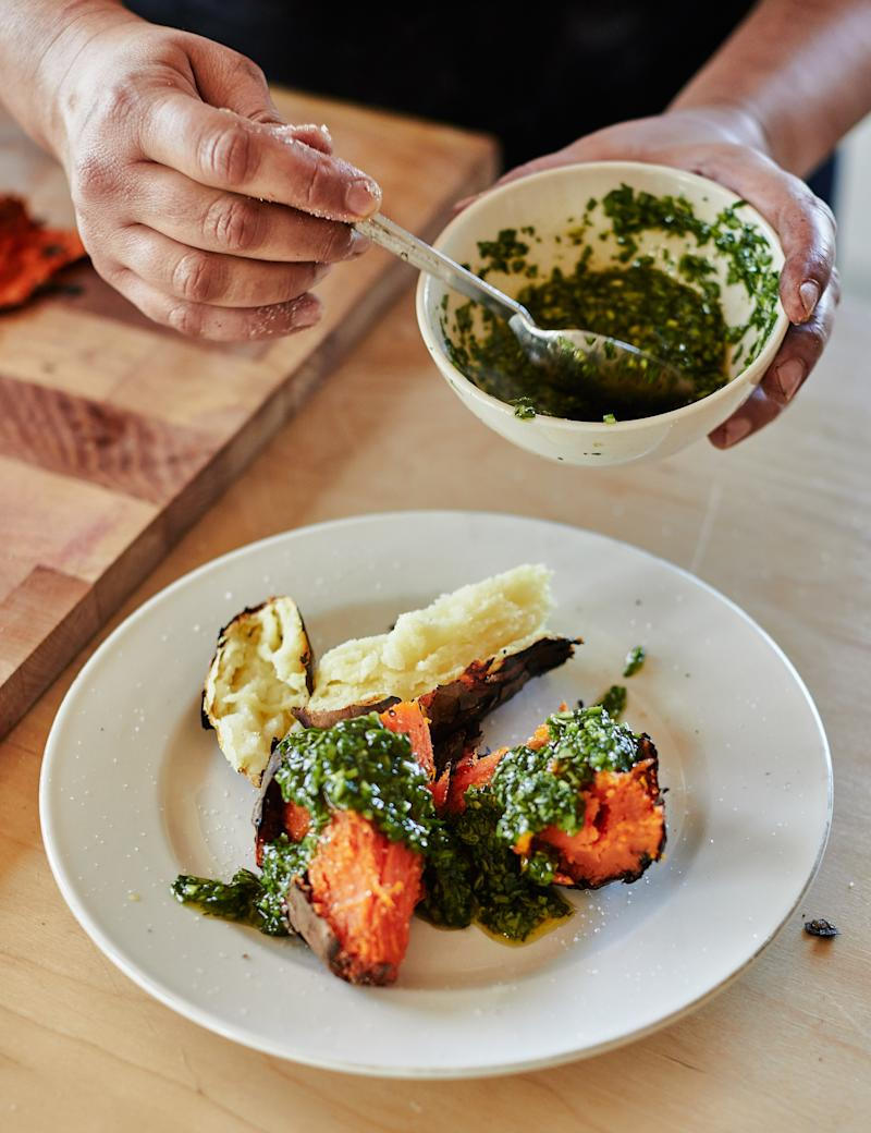 Nosrat cooked sweet potatoes in the coals of an outdoor stove, then topped them with an herby, zesty chimmichurri.