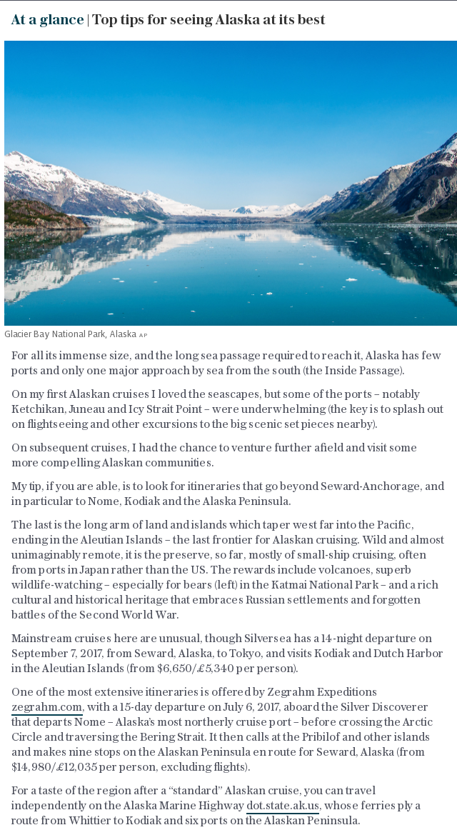 At a glance | Top tips for seeing Alaska at its best