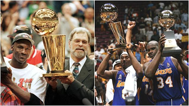 As the Warriors attempt to write their name in NBA history, we look at the teams they are out to emulate by completing the three-peat.