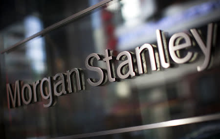 The corporate logo of financial firm Morgan Stanley is pictured on the company's world headquarters in the Manhattan borough of New York City