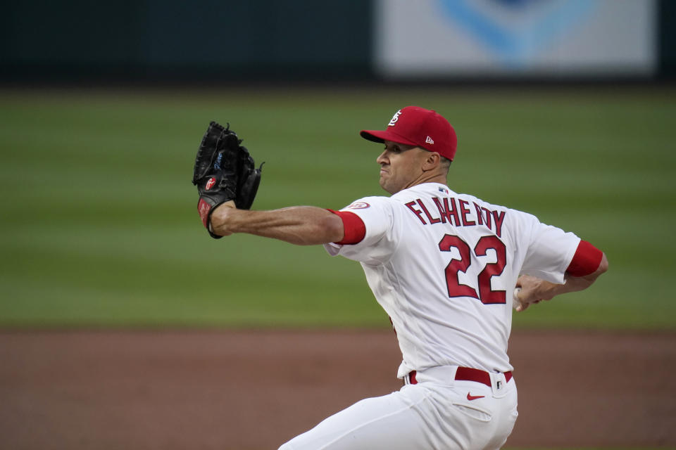 St. Louis Cardinals starting pitcher Jack Flaherty throws during the second inning of a baseball game against the Washington Nationals Tuesday, April 13, 2021, in St. Louis. (AP Photo/Jeff Roberson)