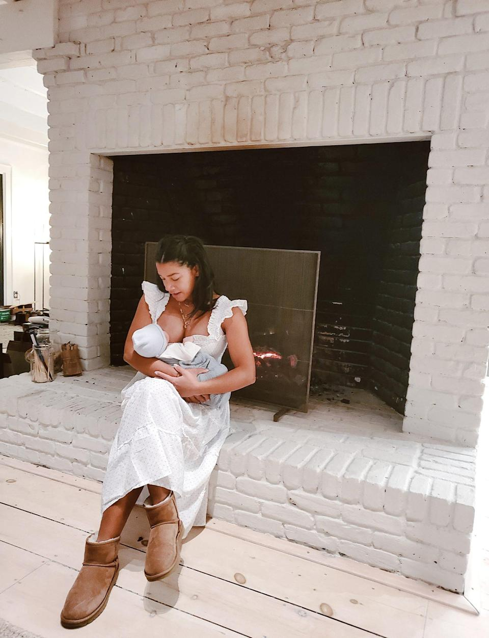 """<p>""""Living for these moments. The breastfeeding journey is real,"""" writes the influencer, who <a href=""""https://people.com/parents/hannah-bronfman-welcomes-son-preston-announces-birth-with-help-from-barack-obama/"""" rel=""""nofollow noopener"""" target=""""_blank"""" data-ylk=""""slk:welcomed her first child"""" class=""""link rapid-noclick-resp"""">welcomed her first child</a>, son Preston Miles Thomas Fallis, with husband Brendan Fallis in November 2020. </p> <p>""""I definitely don't have it figured out but one thing that is saving me is laughter!"""" Bronfman writes. """"Every time I get spit up on, or spill my Haakaa full of milk, or have to spend 20 minutes blowing on his face to wake this sleepy boy up, I take a deep breath and let it roll off my back and let out a chuckle, because these are the moments I've been waiting so long for.""""</p>"""