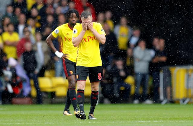 <p>Watford's Tom Cleverley looks dejected after Manchester City's Gabriel Jesus scored their third goal REUTERS/Darren Staples </p>