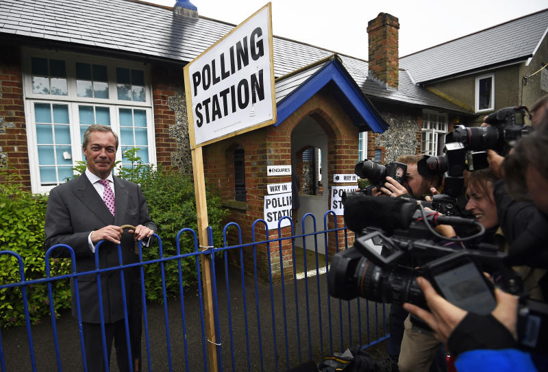 Nigel Farage, the leader of the United Kingdom Independence Party (UKIP), leaves after voting in the EU referendum, at a polling station in Biggin Hill, Britain June 23, 2016. REUTERS/Dylan Martinez TPX IMAGES OF THE DAY