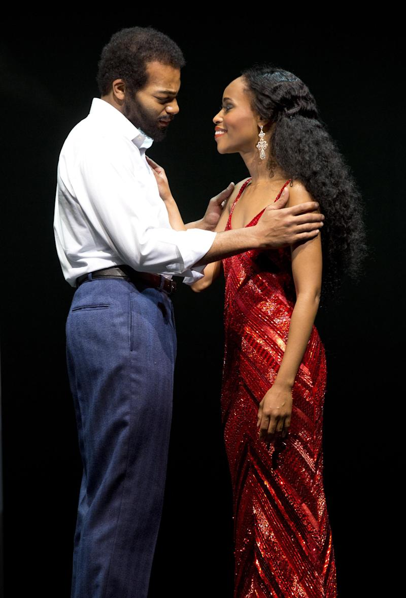 "This theater image released by Boneau/Bryan-Brown shows Brandon Victor Dixon as Berry Gordy, left, and Valisia LeKae as Diana Ross in ""Motown: The Musical,"" performing at the Lunt-Fontanne Theatre in New York. (AP Photo/Boneau/Bryan-Brown, Joan Marcus)"