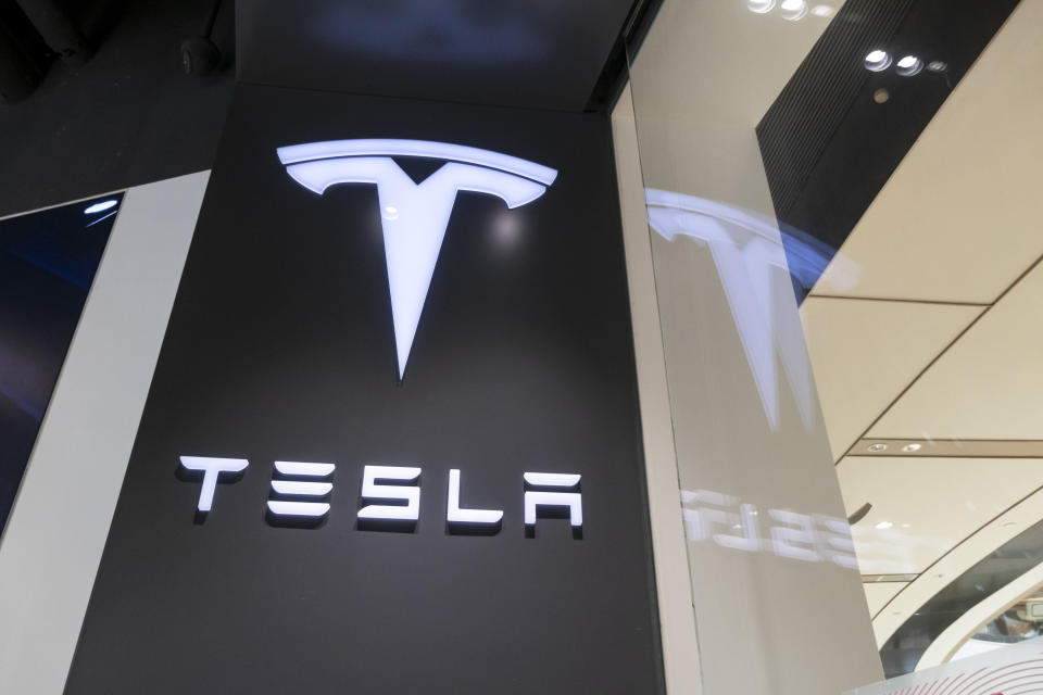 SHANGHAI, CHINA - AUGUST 11: Tesla logo is seen at the Tesla experience store on August 11, 2020 in Shanghai, China. (Photo by Wang Gang/VCG via Getty Images)