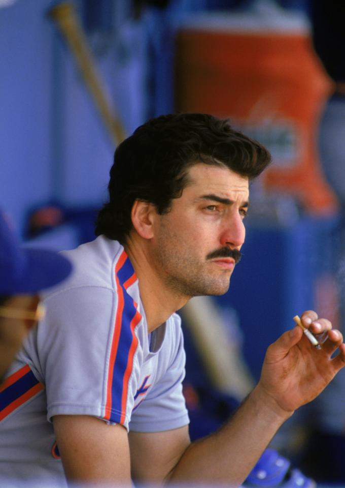 Keith Hernandez #17 of the New York Mets smokes a cigarette in the dugout during a game circa 1983-1989. (Photo by Andrew D. Bernstein/Getty Images)