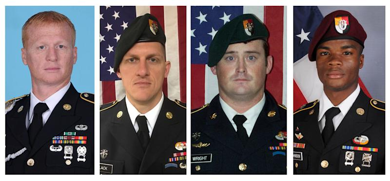From left to right: U.S. Army Special Forces Sergeant Jeremiah Johnson, U.S. Special Forces Sgt. Bryan Black, U.S. Special Forces Sgt. Dustin Wright and U.S. Special Forces Sgt. La David Johnson. All four were killed in Niger, West Africa on October 4, 2017.