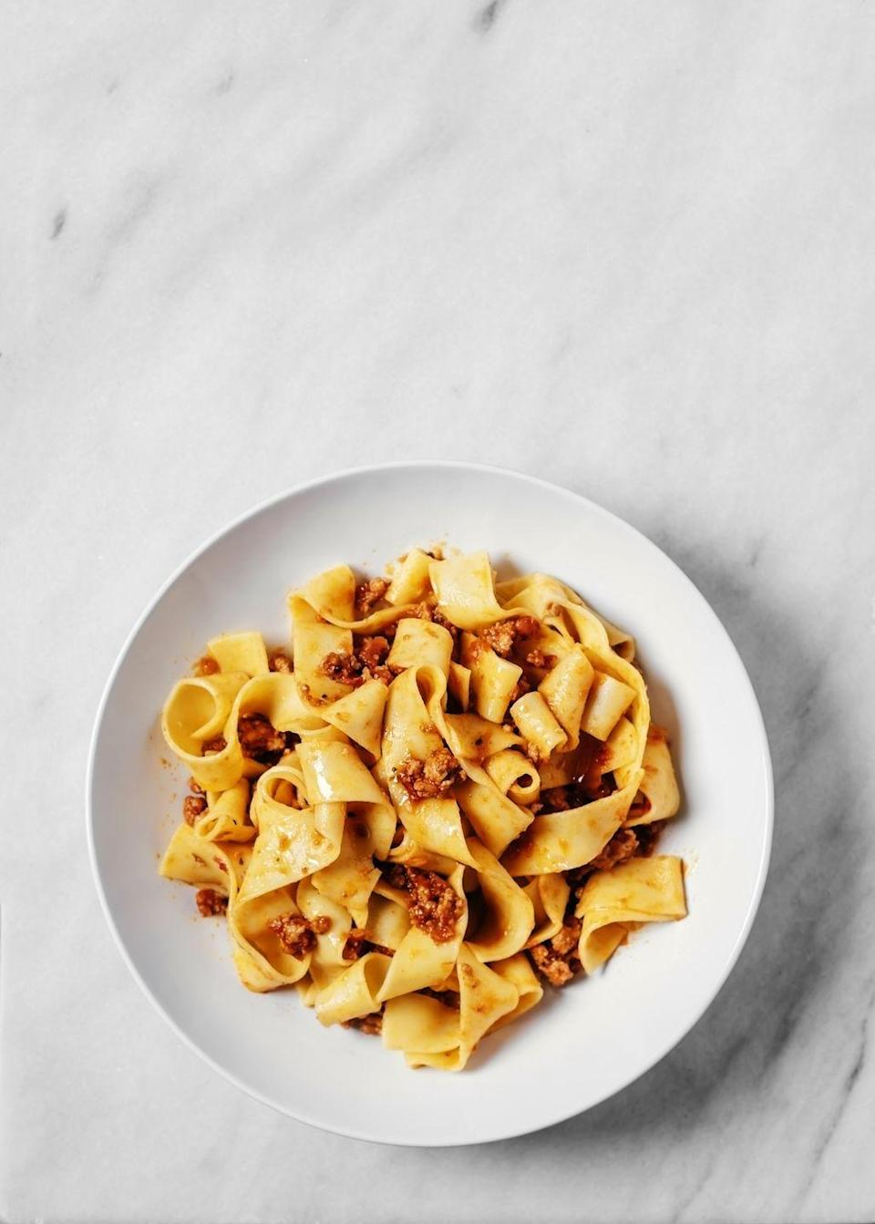 """<p><a href=""""https://www.delish.com/uk/cooking/recipes/a30387567/sausage-vegetable-ragout-pappardelle-recipe-kft0212/"""" rel=""""nofollow noopener"""" target=""""_blank"""" data-ylk=""""slk:Pappardelle"""" class=""""link rapid-noclick-resp"""">Pappardelle</a> works really well with a rich <a href=""""https://www.delish.com/uk/cooking/recipes/a30510748/lamb-ragu-recipe/"""" rel=""""nofollow noopener"""" target=""""_blank"""" data-ylk=""""slk:lamb ragù"""" class=""""link rapid-noclick-resp"""">lamb ragù</a> or a creamy mushroom sauce, like this <a href=""""https://www.delish.com/uk/cooking/recipes/a29019031/creamy-chicken-mushroom-pasta-recipe/"""" rel=""""nofollow noopener"""" target=""""_blank"""" data-ylk=""""slk:creamy chicken and mushroom sauce."""" class=""""link rapid-noclick-resp"""">creamy chicken and mushroom sauce.</a></p>"""