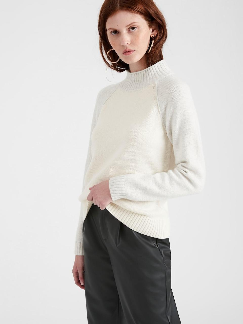 <p>I love the soft raglan style color block details of this <span>Banana Republic Chunky Color-Block Sweater</span> ($29, originally $90). Play with a baseball look and pair this with a great pair of culottes!</p>