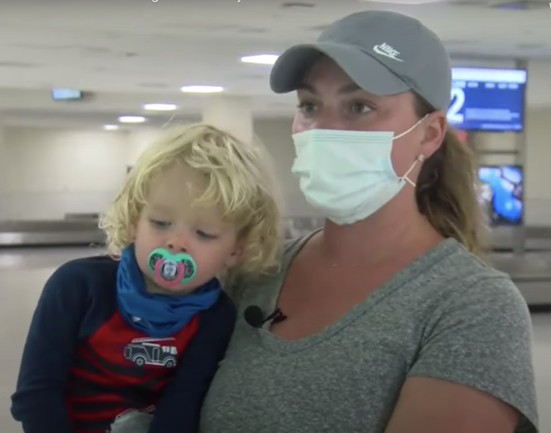 Jodi Degyansky (pictured) and her son, Hayes Jarboe, after being removed from a Southwest Airlines flight. The pair were kicked off a flight after he took off his mask to eat, the mum says.