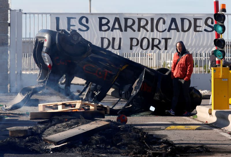 FILE PHOTO: France faces its eighth consecutive day of strikes